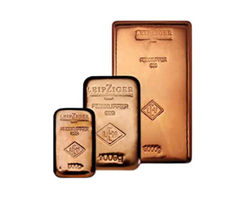 Set of copper bullions of 5kg, 1kg, 500g and 1oz (31.1 grams) beautifully minted in German precious metals refineries