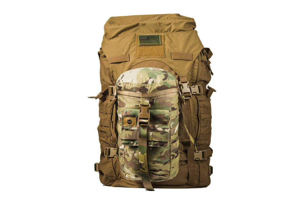 Mounted to a ruck via the MOLLE webbing