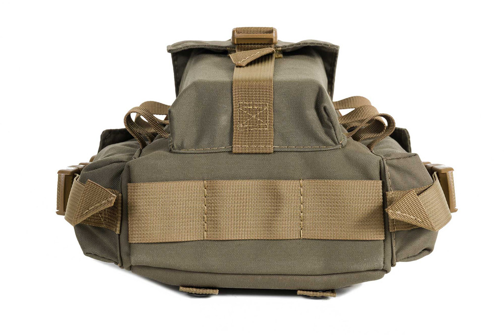 Wider bottom webbing with three channels for increased tie down support - jackets, tarps, gear rolls, etc...