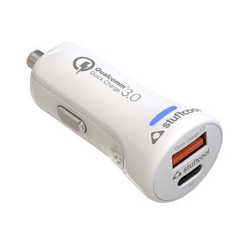 Stuffcool Car Charger Atom Plus Type-C PD 20W & Quick Charge 3.0 (Qualcomm Certified QC 3.0) Dual USB Car Charger/Adapter Compatible with The New iPhone 12, iPhone 12 Pro - White