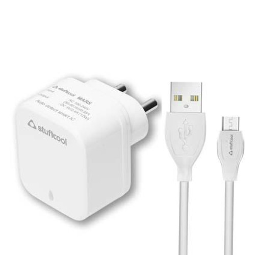 Stuffcool Charge it 2.4A Dual USB Mobile Wall Charger with 1M Micro USB Cable - White