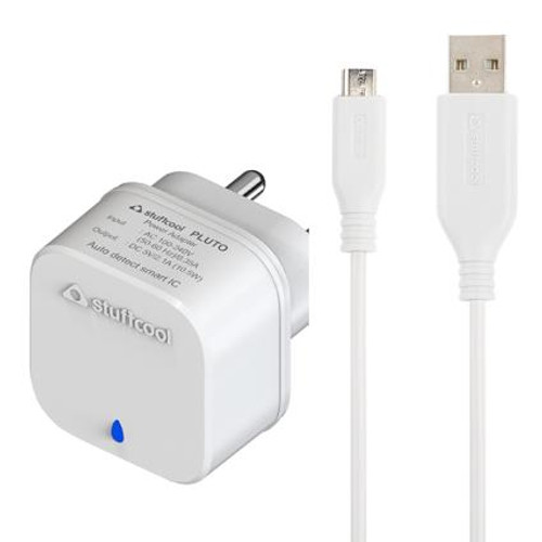 Stuffcool Pluto Single USB wall Charger with Micro USB cable 1M, 2.1Amp 10.5W to fast charge all smartphone/tablet/iPhone/iPad - White