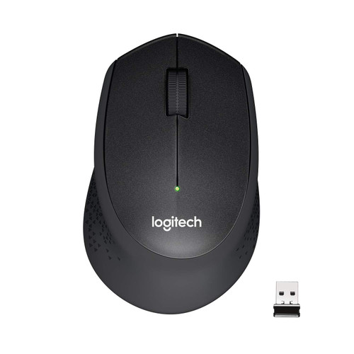 Logitech M331 Silent Plus Wireless Mouse, 2.4GHz with USB Nano Receiver, 1000 DPI Optical Tracking, 3 Buttons, 24 Month Life Battery, PC/Mac/Laptop - Black