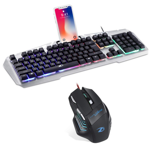 Zoook Combat Pro Gaming Keyboard and Mouse Combo, Led Rainbow Backlit Keyboard Quiet Metal Keyboard & 7 Button Gaming Mouse for PS4/Xbox/Pc Gamer/Computer/Laptop (Silver, with Mobile Dock)