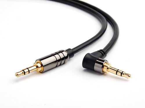 BlueRigger 3.5MM-ANG-6FT-BLK 1.8 Meters Male to Male Stereo Audio Cable (Black)