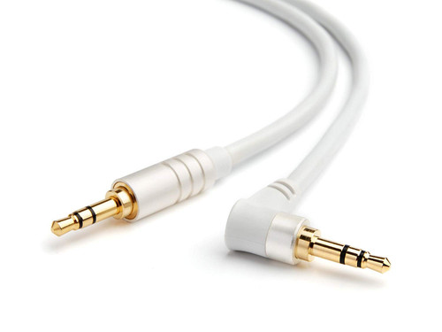 BlueRigger Angled 3.5mm Male to Male Stereo Audio Cable - 6 Feet (White) ? Supports iPhone, iPod, iPad, Kindle Fire, Android and other Smartphones