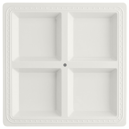 """size 13 – 1/2"""" by 13 -1/2 """" this melamine server is perfect for your outdoor spaces and casual get togethers. Designed to give you options, this sectional server is perfect for your indecisive guests! BPA free food safe works seamlessly with current nora fleming line dishwasher safe do not microwave"""