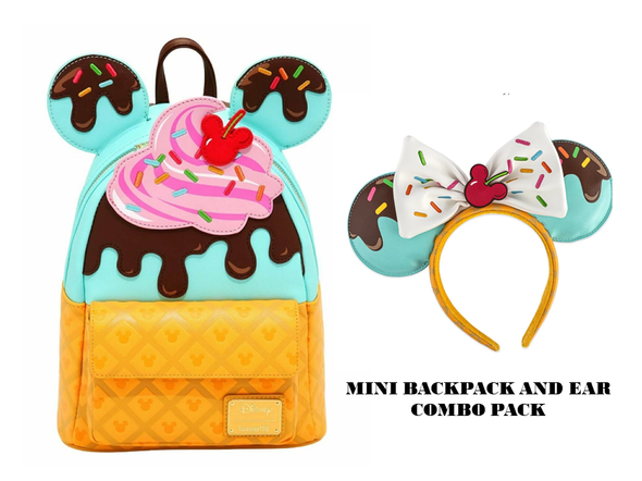 Loungefly Mickey and Minnie Sweets Ice Cream Treats Mini and Ear Combo