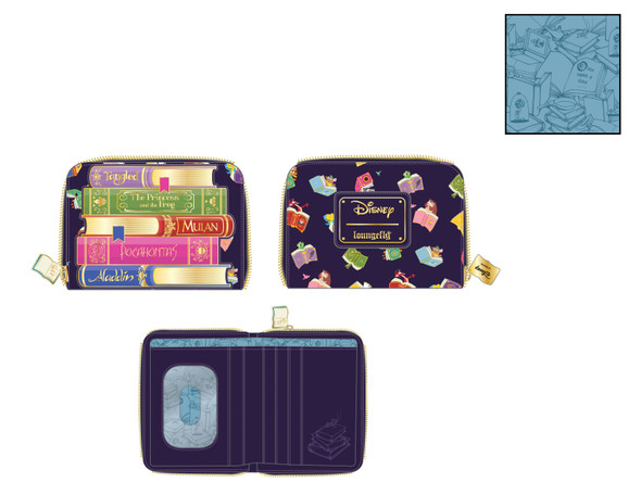 Loungefly Disney Princess Books All Over Print Zip Wallet