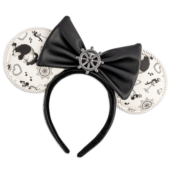 Loungefly Disney Steamboat Willie Applique Bow Rope Piping Headband