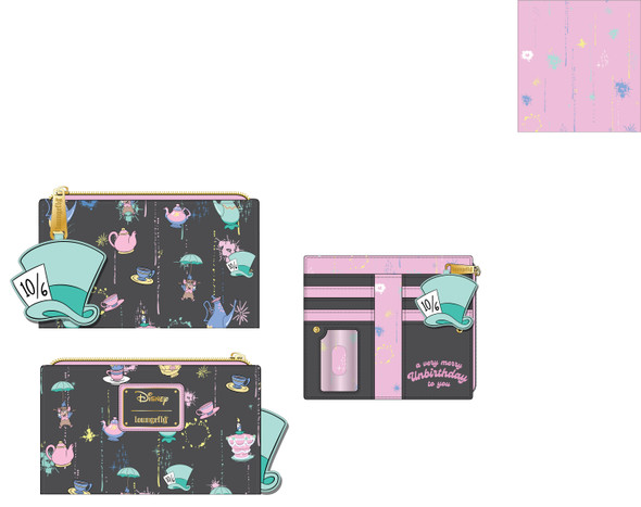 Loungefly Disney Alice in Wonderland A Very Merry Unbirthday To You Flat Wallet