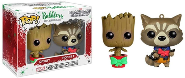 Groot and Rocket Pop Bobblers Hanging Christmas Ornaments