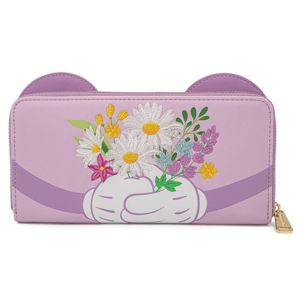 Loungefly Disney Minnie Holding Flowers Zip Wallet