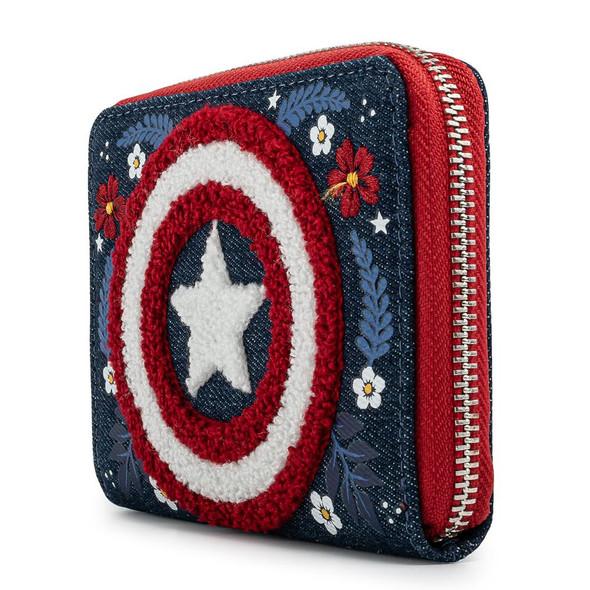 Loungefly Marvel Captain America Floral Sheild Zip Around Wallet