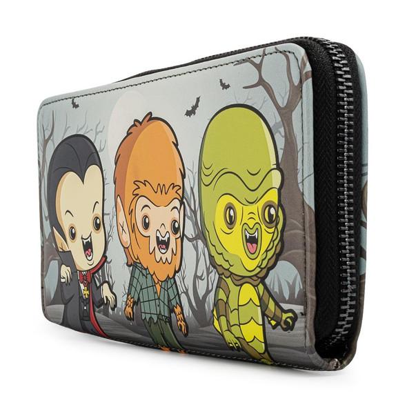 Loungefly Universal Monsters Chibi Line Zip Around Wallet