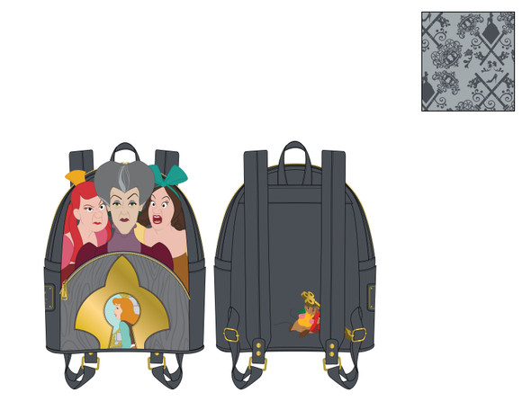 Loungefly Disney Villains Scene Evil Stepmother And Step Sisters Mini Backpack