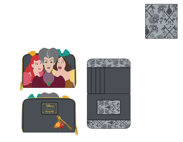 Loungefly Disney Villains Scene Evil Stepmother And Step Sisters Zip Around Wallet