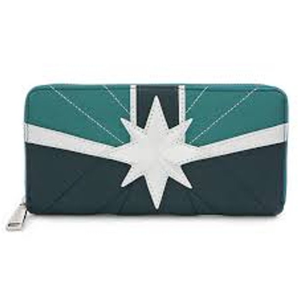 Loungefly Capt Marvel Green Zip Wallet