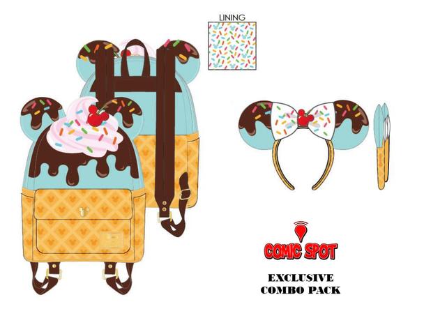 Loungefly Mickey and Minnie Sweets Ice Cream Treats Mini and Ear Combo