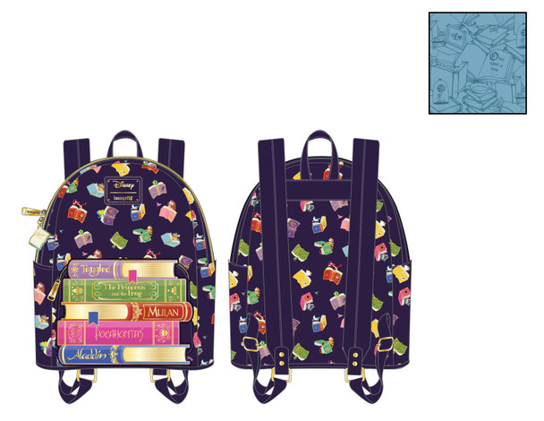 Loungefly Disney Princess Books All Over Print Mini