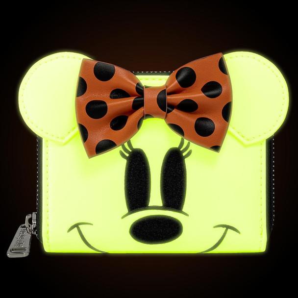 Loungefly Disney Ghost Minnie Glow In The Dark Cosplay Zip Around Wallet