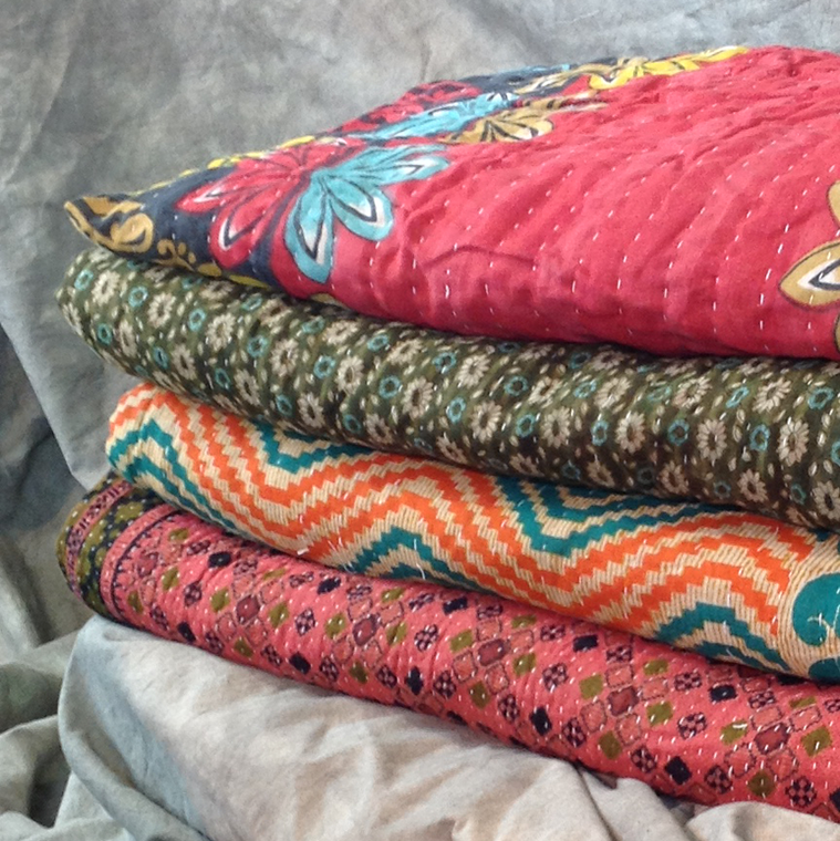 Vintage Kantha Stitch Reversible Throw
