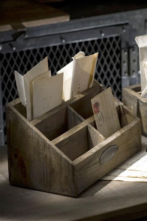 Rustic Wood Desktop Letter Holder