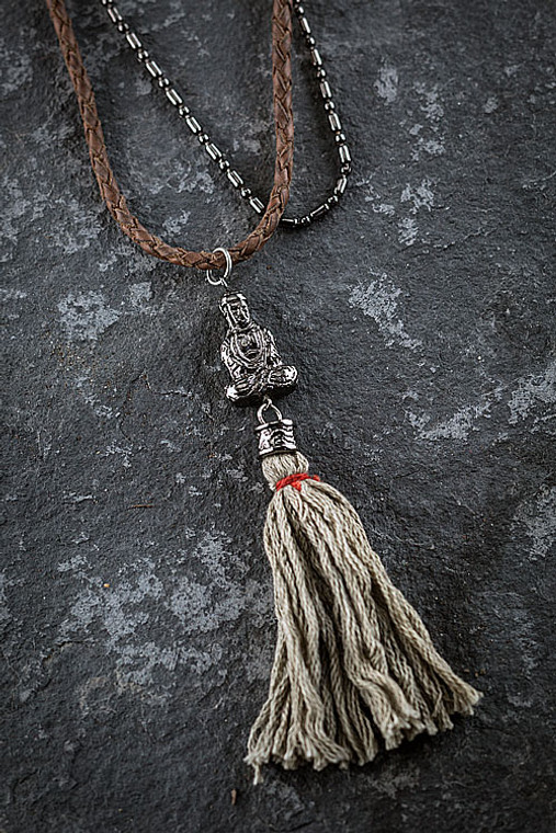 Multilayered Buddha Necklace with Beige Tassel