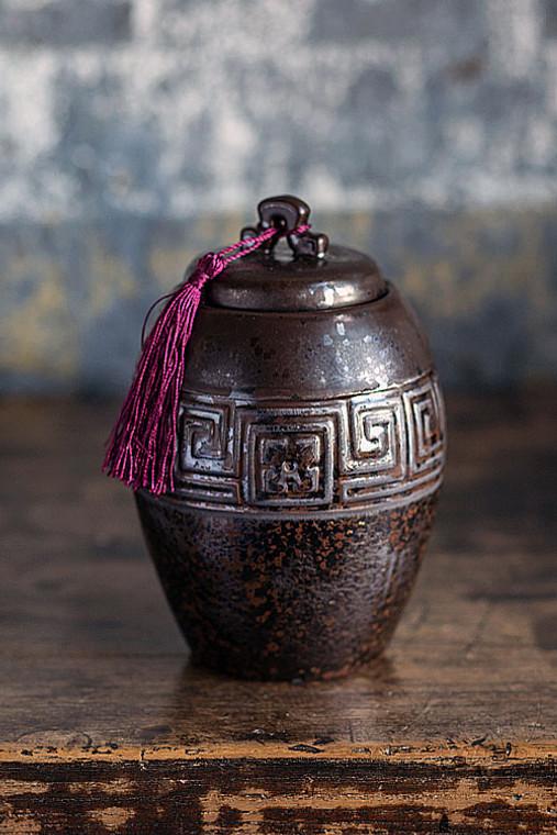 Dark Brown Ceramic Tea Storage Canister with Maroon Tassel
