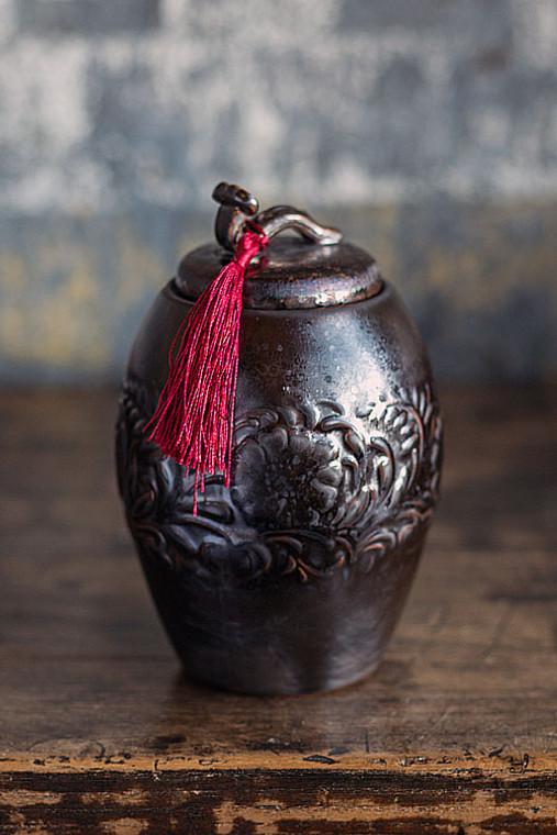 Dark Brown Ceramic Tea Storage Canister with Red Tassel