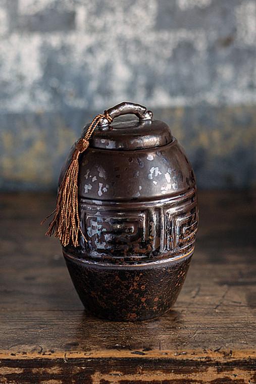 Dark Brown Ceramic Tea Storage Canister with Brown Tassel