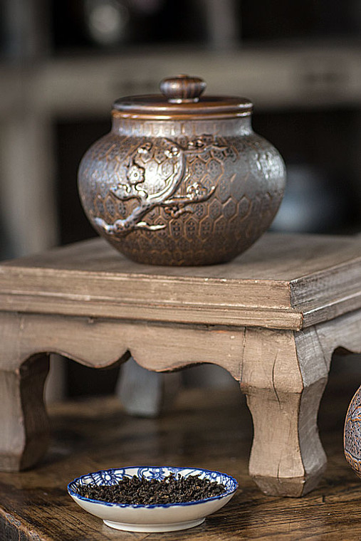 Dark Brown Ceramic Tea Storage Canister with Plum Tree Motif