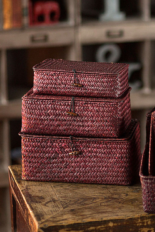 Red Rattan & Wire Boxes - Set of 3