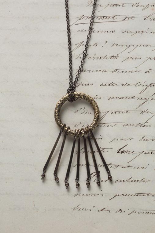 Antique Finish Tranquil Necklace with Smokey Quartz