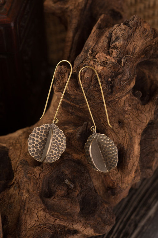 Antique Gold Hammered Atom Earrings