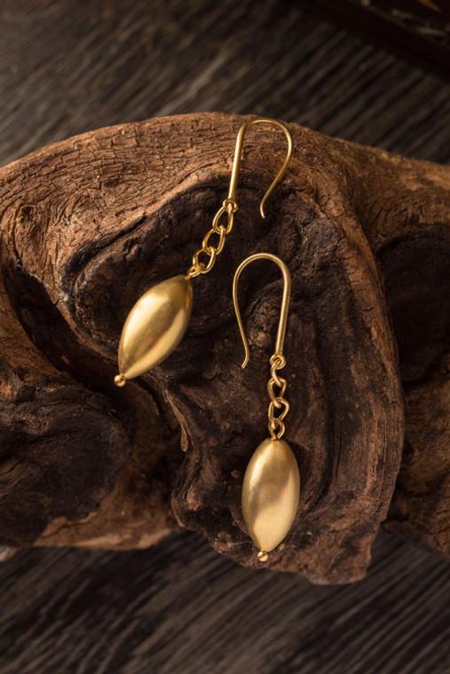 Matte Gold Plated Pod Earrings