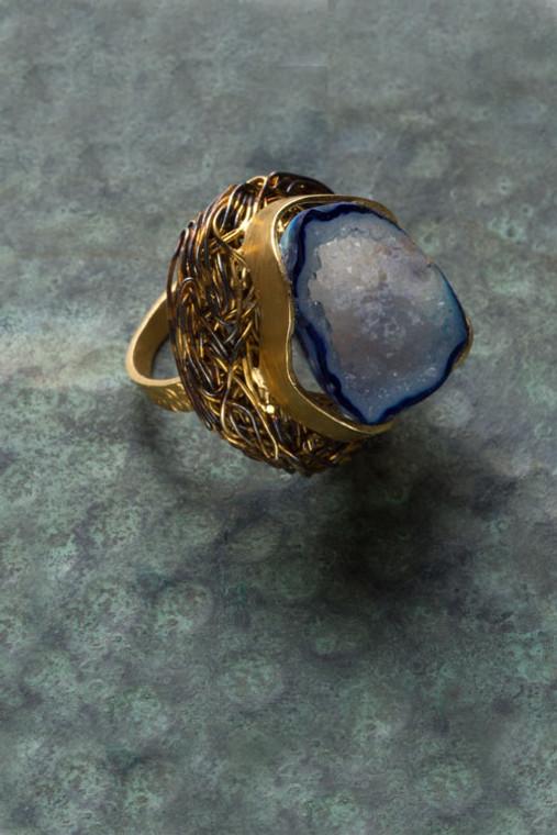 Royal Blue Druzy Nest Ring