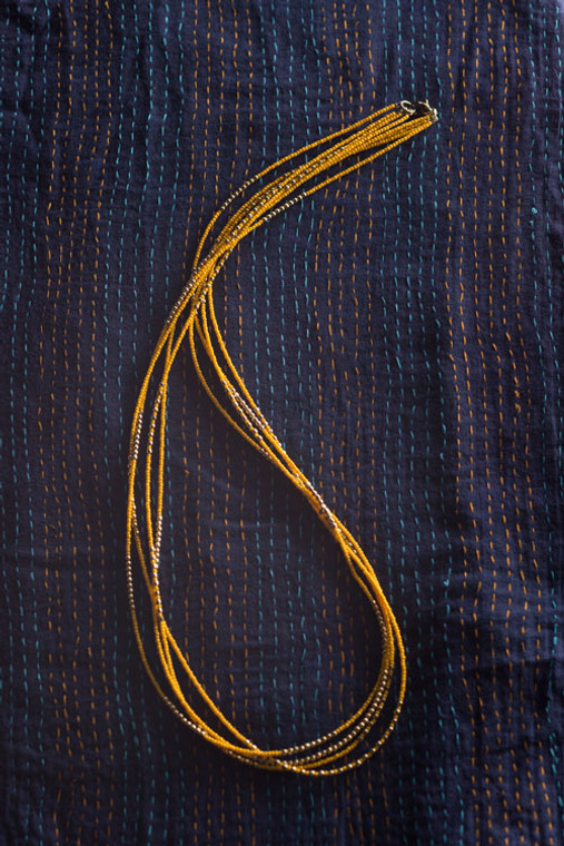 Multi Strand Saffron Yellow Necklace
