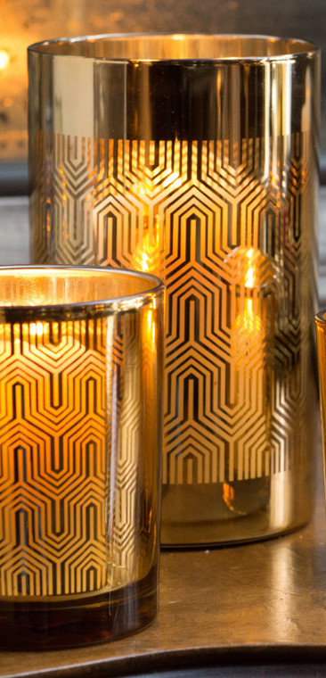 Metallic Gold & Silver Glass Candle Holder