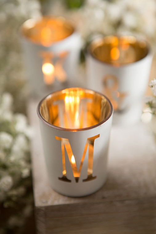 White & Gold Votive Letters