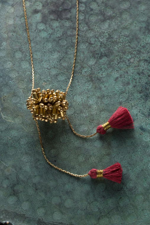 Gold Metal Necklace with Red Tassels