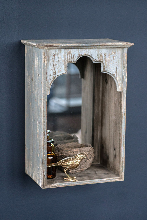 Wooden Wall Niche with Mirror