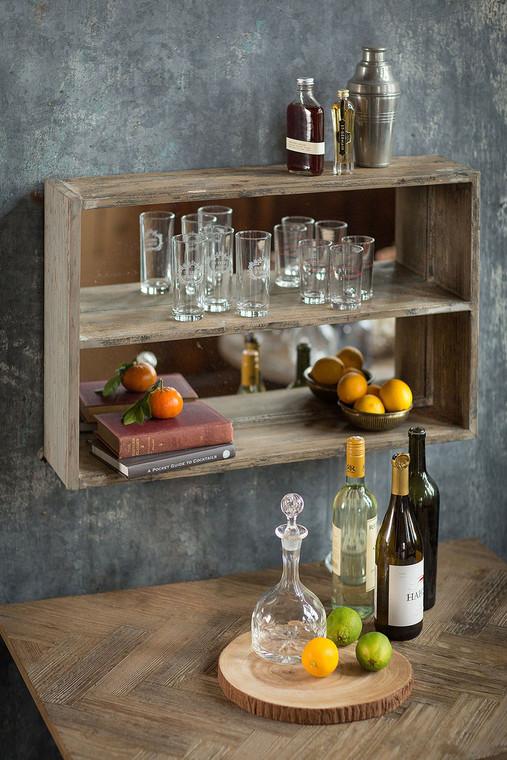 Black and Gray Distressed Pine Shelf Mirror