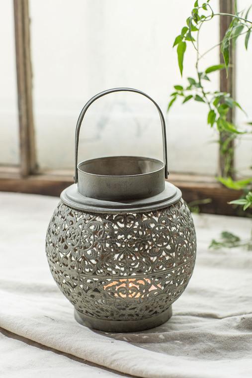 Round Filigree Perforated Metal Lantern
