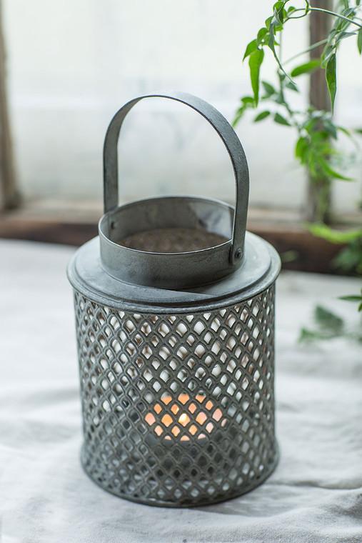 Cylinder Diamond Perforated Metal Lantern