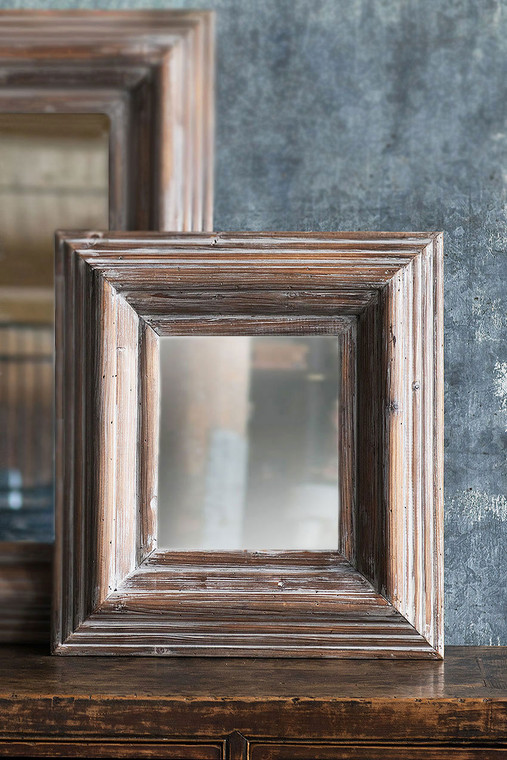 Washed Grey Square Frame Mirror