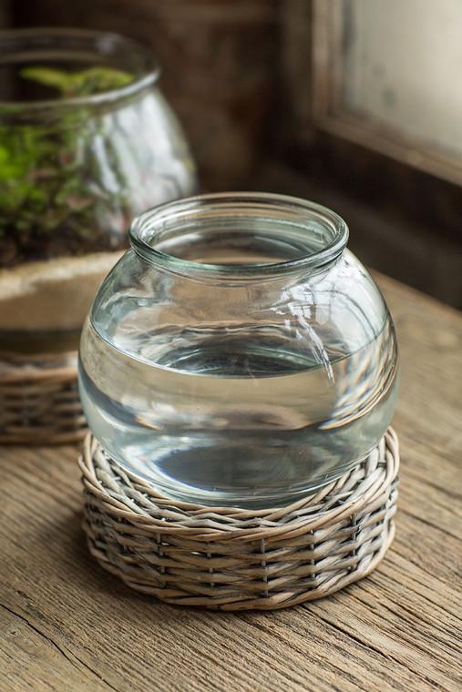 Glass and Wicker Terrarium - Small