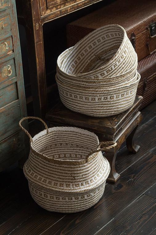 Handwoven Collapsible Storage Basket in White & Natural
