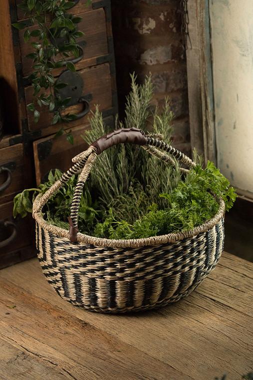Handwoven Market Seagrass Basket in Black & Natural
