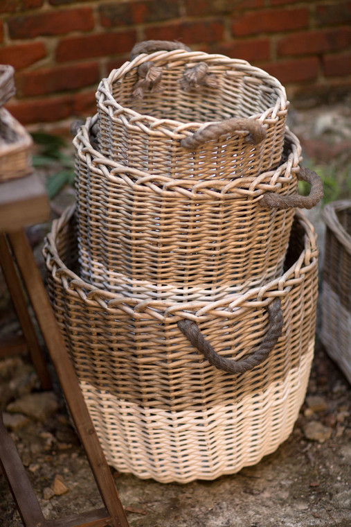 Willow Nesting Baskets with Rope Handles